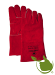 Heater / welding glove made of red split leather