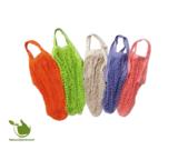 Boodschappentassen van biologisch katoen in diverse kleuren.