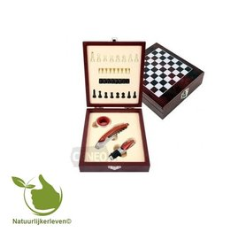 Exclusive wine opening set with chess game