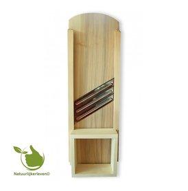 Wooden mandoline (55,5 x 18,5 x 2) - 3 stainless steel blades.