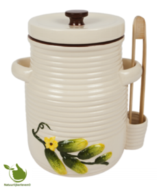 Pickles pot 5 Liter (white) with a wooden tong.