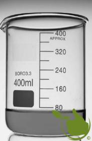 Glass beaker 400 ml graduated low model heat resistant