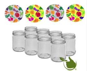 Jam pots 500 ml with twist-off lid (cartoon) 8 in unit