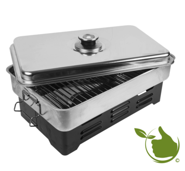 Portable smoker with thermometer