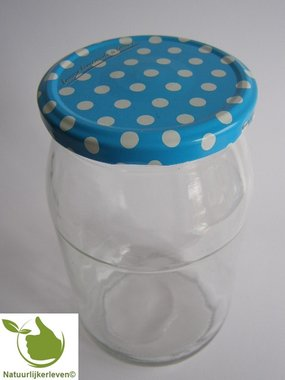 Glass jars 900 ml with twist-off lid (Blue-Dots) 8 in unit