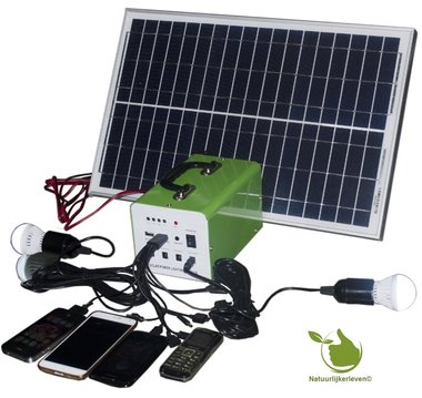 Portable 30w solar system including chargeable battery