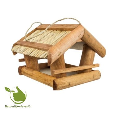 Feeder cottage for birds with reed roof
