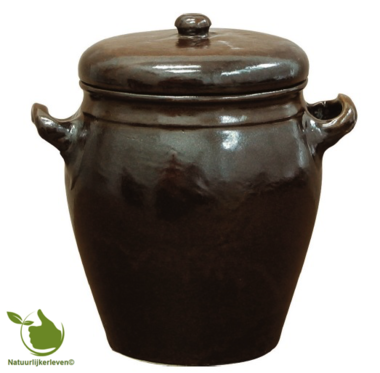 Stoneware pot with cover