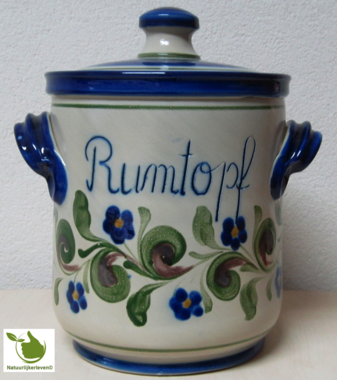 Rumtopf with green-blue motif 5 liters