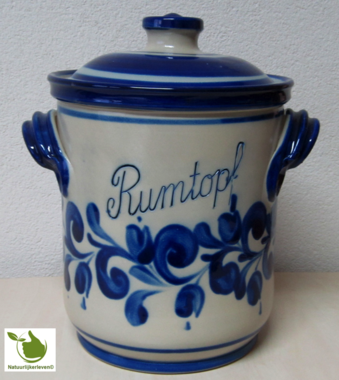 Rumtopf with blue grey motif 5 liters