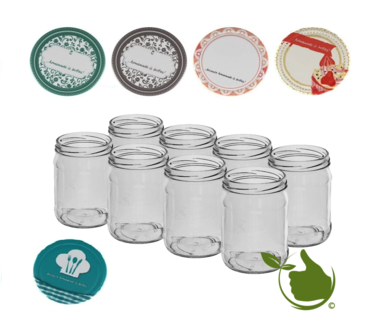 Jam pots 500 ml with twist-off lid (Writable design) 8 in unit