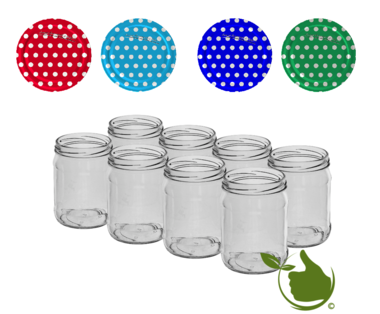 Jam pots 500 ml with twist-off lid (white dot assorted) 8 in unit