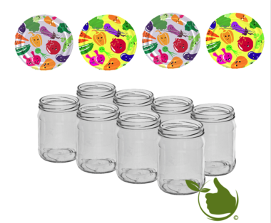Jam pots 500 ml with twist-off lid (cartoon) 8 in unit