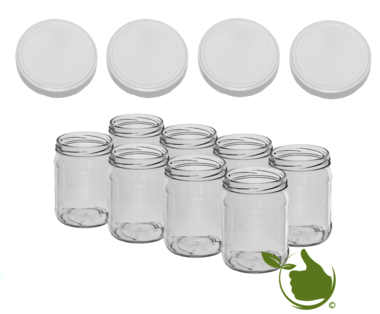 Glass jars 900 ml with twist-off lid (white) 8 in unit