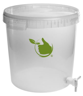 Fermentation container transparent 30L with lid and drain tap