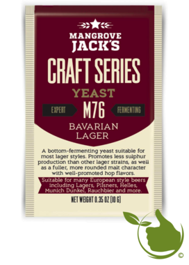 Dried brewing yeast Bavarian Lager M76 - Mangrove Jack's Craft Series - 10 g