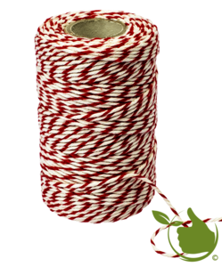 Slagerstouw, Wit/Rood  Katoen 100g