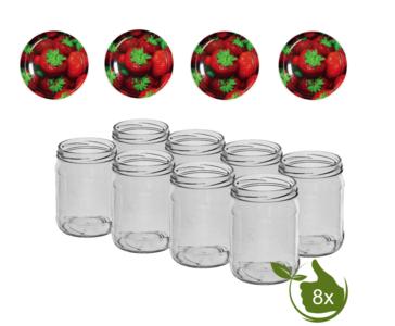 Inmaakpotten 500 ml met twist-off deksel (Aardbeien) 8 stuks
