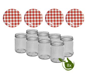 Inmaakpotten 500 ml met twist-off deksel (Rood/Wit) 8 stuks